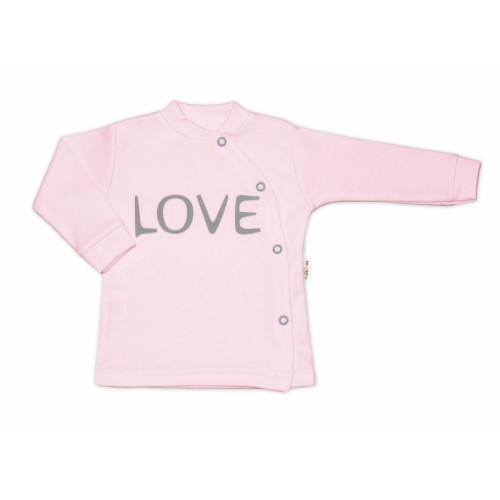 Baby Nellys Bavlnená košieľka Love zapínanie bokom - ružová, veľ. 68