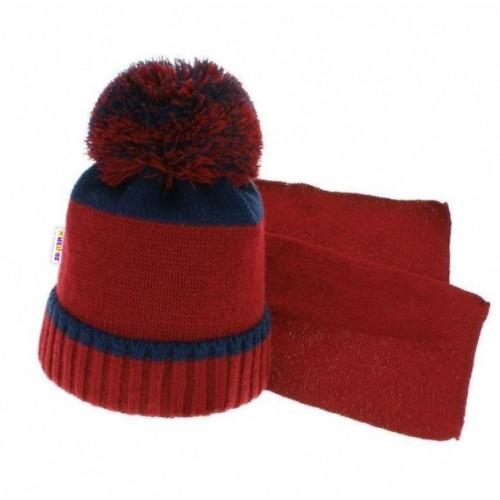 BABY NELLYS Zimná čiapka s brmbolcom a šálom - tm. modrá / šedá