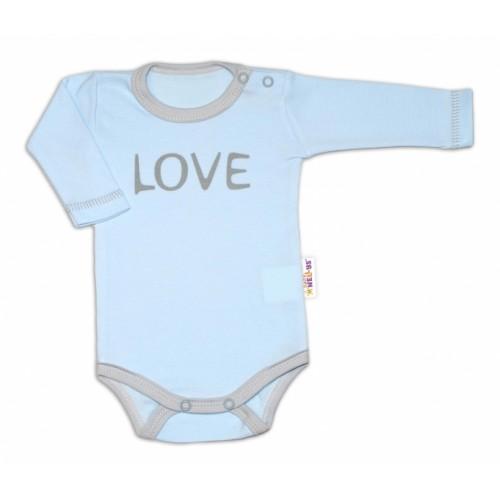Baby Nellys Body dlhý rukáv Love - modrý