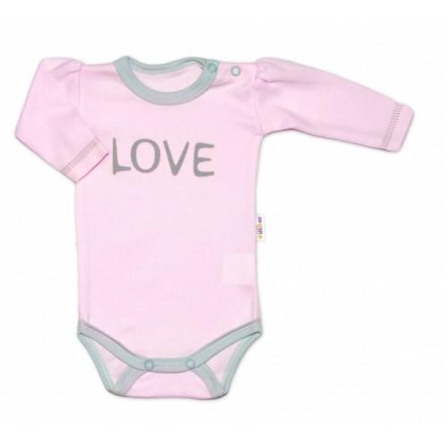 Baby Nellys Body dlhý rukáv Love - ružové