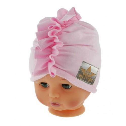 Baby Nellys Jarná/jesenná bavlnená čiapka - turban, sv. ružová,  obvod 44-48 cm