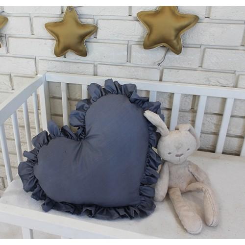 Baby Nellys Dekoračné obojstranný vankúšik - Srdce, 45 x 40 cm - tmavě šedé
