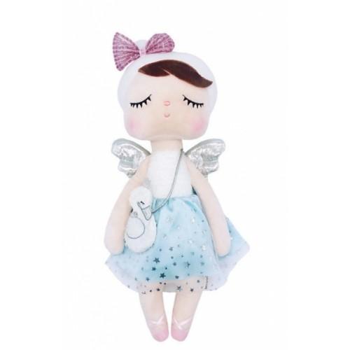 Handrová bábika Metoo Anjelik v šatôčkach s kabelkou - modro/biela