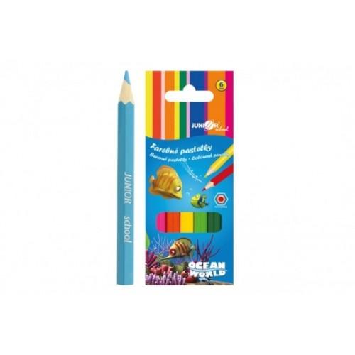 Pastelky farebné drevo krátke Ocean World šesťhranné 6 ks v krabičke 4,5x11x1cm 24ks