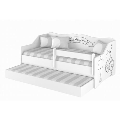 Babyboo Detská posteľ LULU 160 x 80 cm - biela Medvedík Pú - black