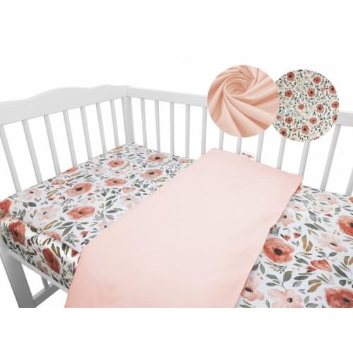 2-dielne bavlnené obliečky Baby Nellys - Begónie, marhuľová