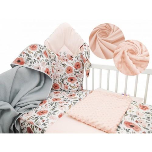 Baby Nellys 6-dielna výhodná súprava pre bábätko s darčekom, 120 x 90 cm - Begónie