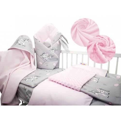 Baby Nellys 6-dielna výhodná súprava pre bábätko s darčekom, 135 x 100cm - Unicor, rúžový