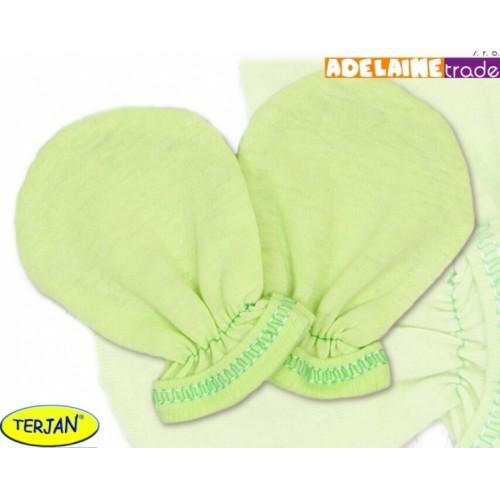 Rukavičky bavlna Terjan - zelené, veľ. 1