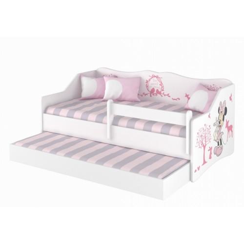 Babyboo Detská posteľ LULU 160 x 80 cm - biela Minnie Zveratka