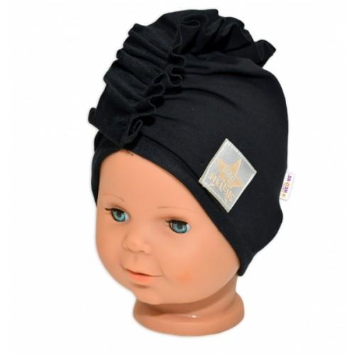 Baby Nellys Jarná /jesenná bavlnená čiapka - turban, čierna, 44-48 cm, 3-7let
