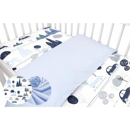 2-dielne bavlnené obliečky Baby Nellys - Auta v aleji, modrá, roz. 135x100cm