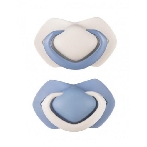 Canpol Babies Sada 2 ks symetrických silikónových cumlíkov, 6-18m +, PURE COLOR modrý