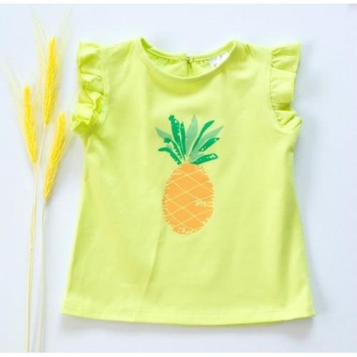 K-Baby Detské bavlnené tričko, krátky rukáv - Ananás - limetka, veľ. 74
