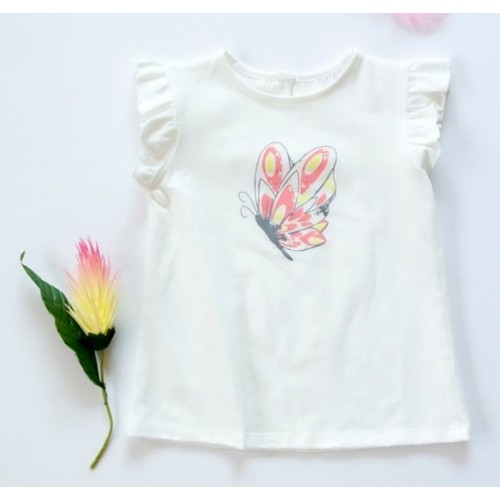 K-Baby Detské bavlnené tričko, krátky rukáv - Motýl - smotanové