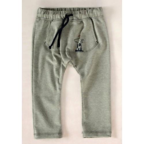 K-Baby Štýlové detské nohavice, tepláky s klokanim vreckom - šedé