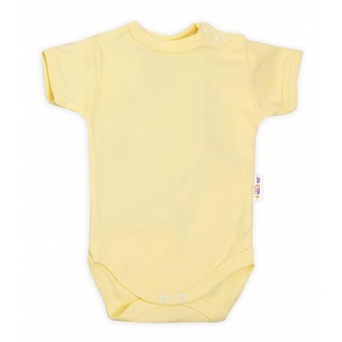 Baby Nellys Bavlnené body kr. rukáv - žlté, veľ. 68