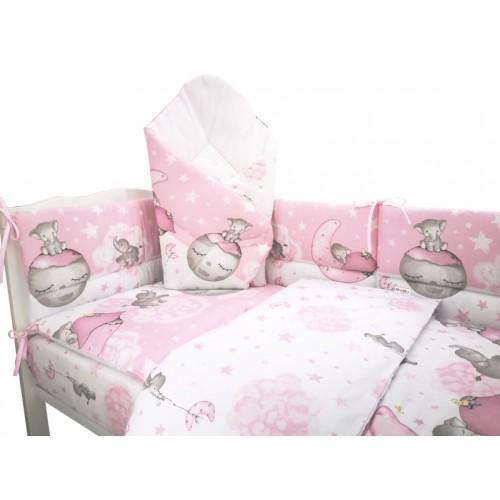 3-dielna sada mantinel s obliečkami 135x100 + zavinovačka zadarmo - Baby Elephant, růžový