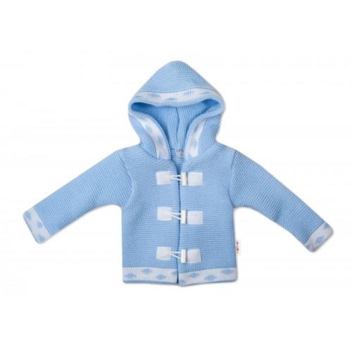Baby Nellys Dvojvrstvová dojčenská bundička, svetrík - modrý, veľ. 80