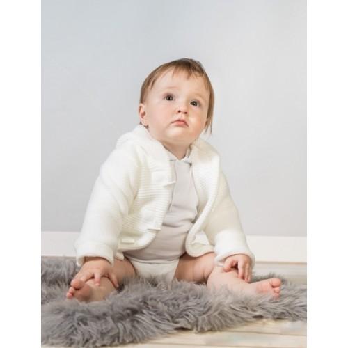 Baby Nellys Dvojvrstvová dojčenská bundička, svetrík - biely, veľ. 80
