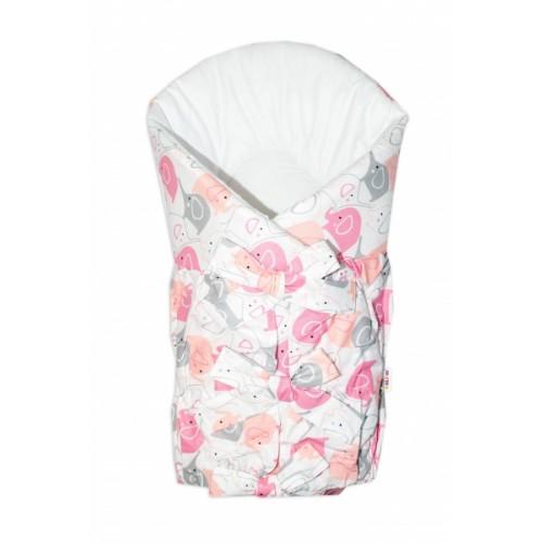 Baby Nellys Klasická retro šnurovacie zavinovačka Elephant - růžovo/biela