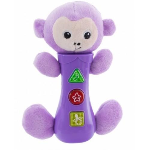 Euro Baby Hračka so zvukmi na baterie pre najmenších - opička, fialová