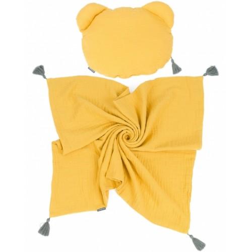 Mamo Tato mušelínová sada vankúšik Teddy Lux double s dekou 70x90cm - horčicová