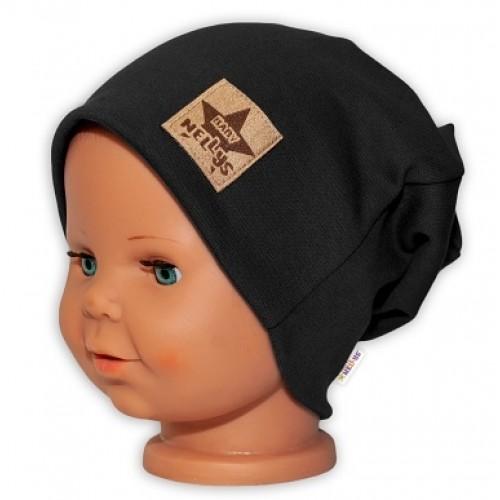 Baby Nellys Hand Made Detská funkčná čiapka s dvojitým lemom - čierna, obvod: 52-54cm