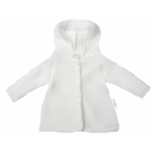 Baby Nellys Dojčenský svetrík s kapucňou, áčkový strih - biely