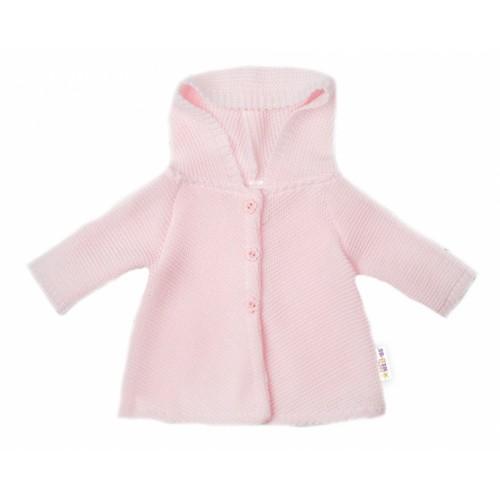 Baby Nellys Dojčenský svetrík s kapucňou, áčkový strih - růžový, veľ. 74