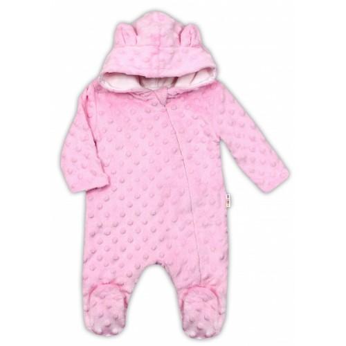 Baby Nellys Kombinézka /overal Minky s kapucňou a uškami - růžová