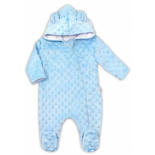 Baby Nellys Kombinézka /overal Minky s kapucňou a uškami - modrá, veľ. 62