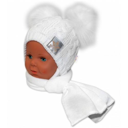 BABY NELLYS Zimná čiapočka s šálom - chlupáčkové bambuľky - biela, biele bambuľky