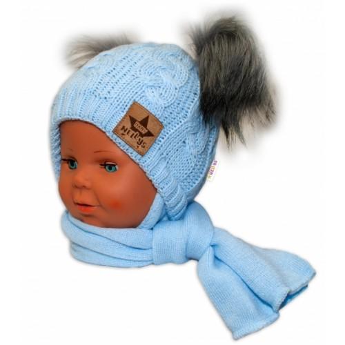 BABY NELLYS Zimná čiapočka s šálom - chlupáčkové bambuľky - modrá, šedé bambuľky