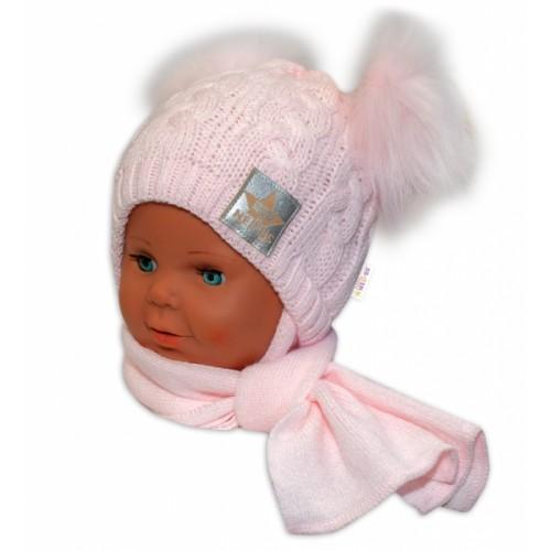 BABY NELLYS Zimná čiapočka s šálom - chlupáčkové bambuľky - růžová, růžové bambuľky
