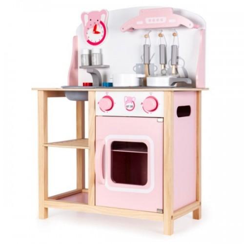 Eco Toys Drevená kuchynka s príslušenstvom, 75 x 59,5 x 29,5 cm - biela