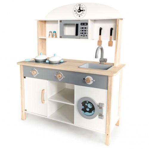 Eco Toys Drevená kuchynka MAXI s príslušenstvom, 79,5 x 30 x 9 cm - biela
