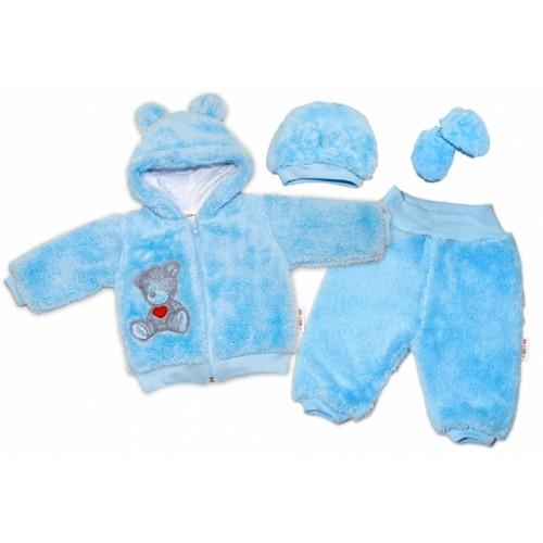Baby Nellys Chlupáčkový komplet Welsoft Teddy vel. 86 - modrý