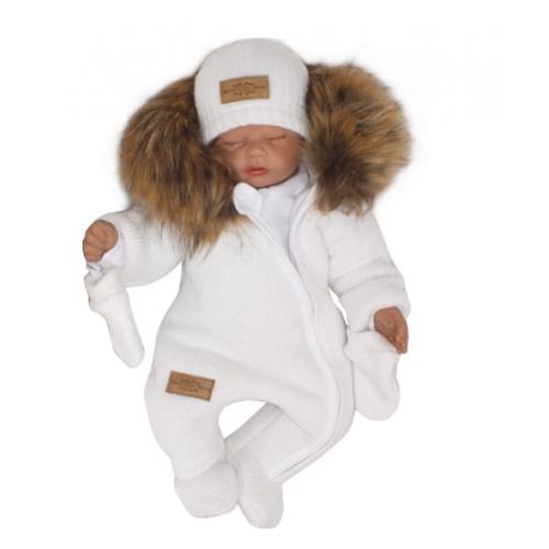 Z & Z Zimná kombinéza s kapucňou a kožušinou + rukavičky, biela, veľ. 68
