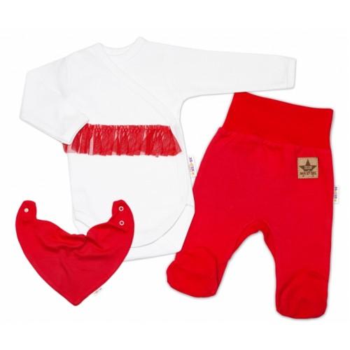 Baby Nellys 3-dielna sada Body dl. rukáv s tutu, šatka, polodupačky, červená, biela