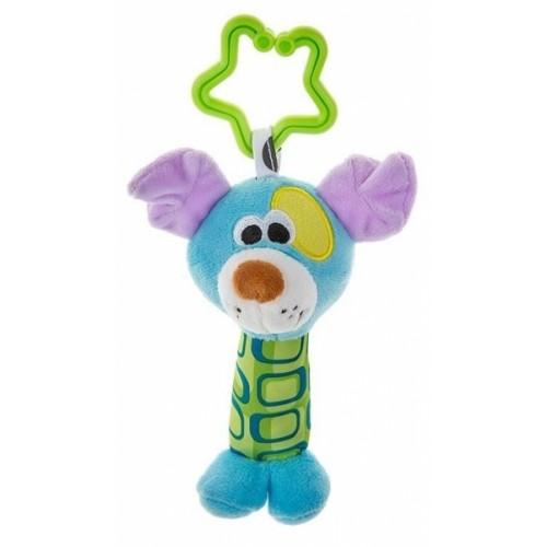 Akuku Plyšová hračka - hrkálka - Psík - modrý