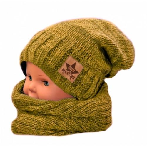BABY NELLYS Jesenná/zimná čiapka s komínkem - horčicový melír