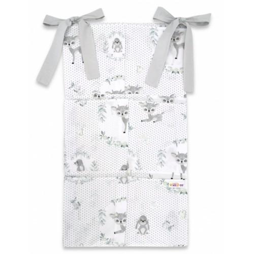 Bavlnený vreckár na postieľku Baby Nellys 6 vreciek, Koloušek, šedá