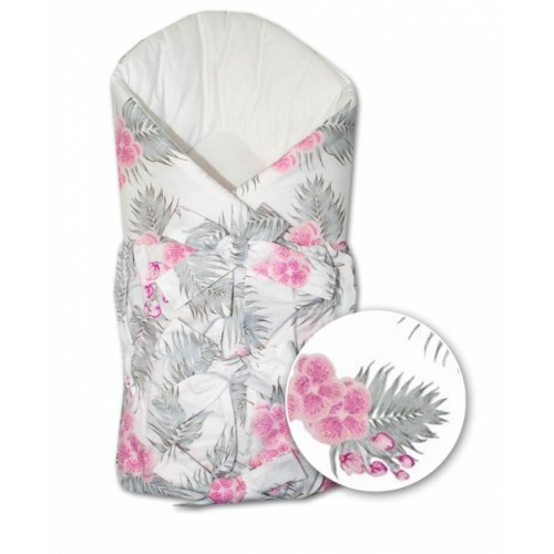 Baby Nellys Klasická retro šnurovacie zavinovačka Orchidej - ružová-sivá