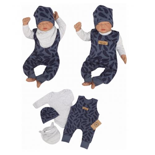Z & Z 4-dielna súpravička body, laclové nohavice, čiapočka + šatka - modrá, veľ. 68