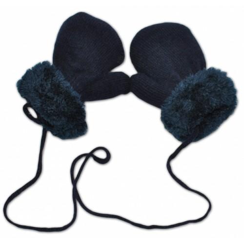 YO !  Zimné detské rukavice s kožušinou - šnúrkou YO - granát/granátová kožušina