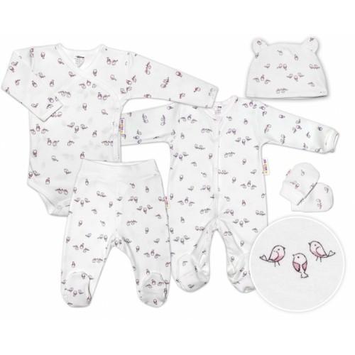 Baby Nellys 5-dielna súpravička do pôrodnice Vtáčiky - ecru/ružová