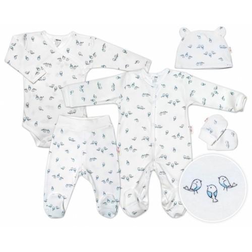 Baby Nellys 5-dielna súpravička do pôrodnice Vtáčiky - ecru/modrá