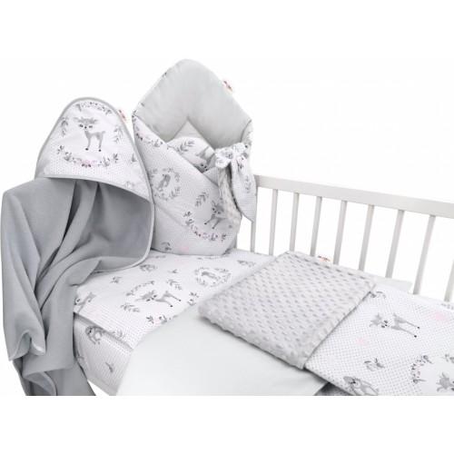 Baby Nellys 6-dielna výhod. súprava pre bábätko s darčekom,135 x 100, Koloušek ružový/sivý