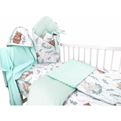 Baby Nellys 6-dielna výhod. súprava pre bábätko s darčekom,120 x 90, LULU natural - mätová